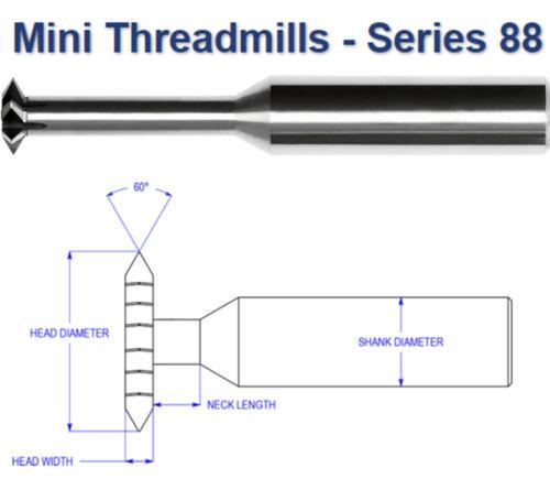 ".148/"" Diameter Carbide Thread Mill 20-56 TPI Range Internal Tool USA #88-1005"