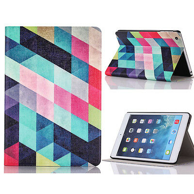 Colored Squares Flip Stand Leather Case Cover For iPad Mini 1 2 3 Retina Tide