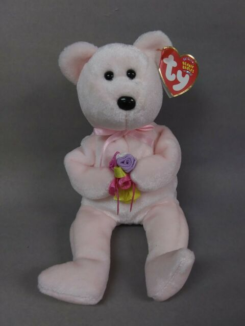 Original Ty Beanie Baby DEAR Pink Bear with Bouquet of Flowers & Pink Ribbon