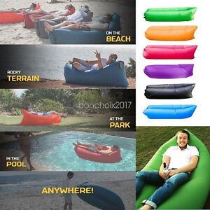 Hot Lazy Lounger Inflatable Air Bed Sofa Lay Sack Hangout Camping Beach Bean Bag