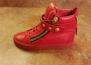 9652bb0fd4c9 Giuseppe Zanotti Stud Strap Red Gold High Top Sneakers Men 7 US 40 ...