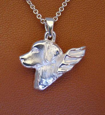 Golden Retriever Angel Pendant Jewelry Sterling Silver Handmade Dog Pendant GR40