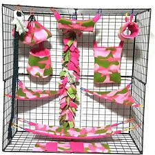 pink and green camo  *15 PC Sugar Glider Cage set * Rat * double layer Fleece