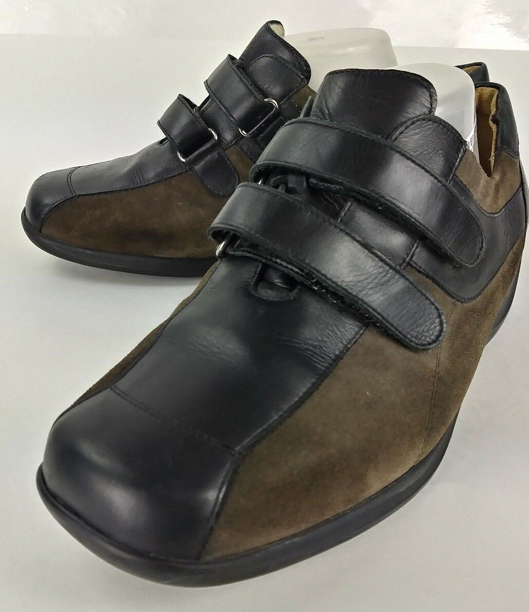 Waldlaufer Womens US 10.5 shoes UK 8.5 Black Leather Brown Suede Loafers 2104