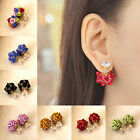 1 Pair Fashion Women Double Sided Ball Beads Crystal Plug Ear Stud Pin Earrings
