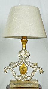 Lampada Da Comodino Argento.Lampada Da Tavolo Antico Legno Colore Foglia Oro Argento Paralume