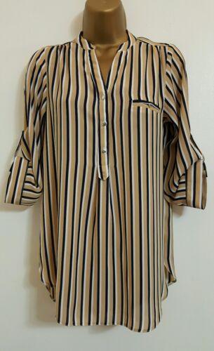 NEW M/&Co 8-18 Beige Black White Striped Chiffon Smart Top Blouse Shirt