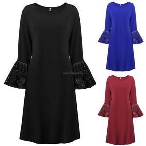 Women-Plus-Sizes-Flare-Long-Sleeve-Solid-A-Line-Short-Retro-Elegant-Dress