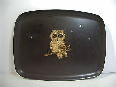 Tray Couroc Owl and Stars Black Inlaid Shell Monterey California MCM Plastic