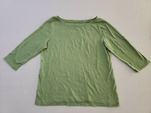 Ann-Taylor-Loft-Boat-Neck-3-4-Sleeve-Top-Shirt-XL-Lime-Green
