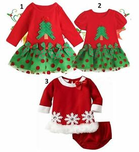 cd9a0697f2117 NEW BABY GIRL CHRISTMAS DRESS OUTFIT COTTON FOR HOLIDAY SANTA Sz 1T ...