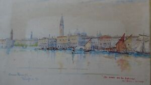 Victorian-Watercolour-of-Venice-signed-and-dated-C-Parnell-Venezia-039-91