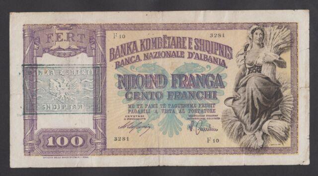 ALBANIA  100 Franga ND(1945) VF  P14    PAST WWII - RARE BANKNOTE
