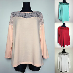 New-ladies-floral-lace-neckline-top-blouse-long-3-4-sleeve-plus-size-14-16