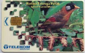 Malaysia-Used-Phone-Cards-Birds-Silver-Eared-Mesia