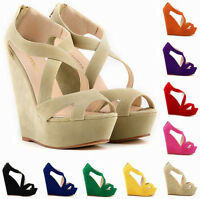 Womens Sexy High Heels Party Studded Platform Wedge Pumps Shoes Sandals Open Toe