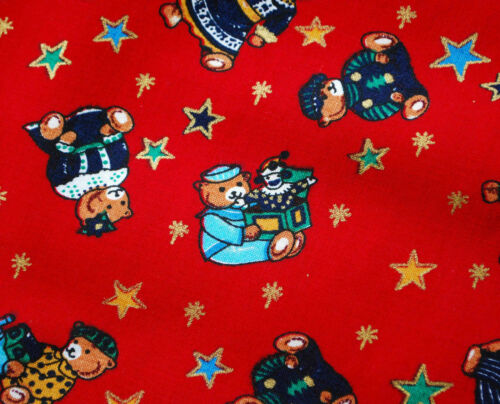 crafting quilting patchwork teddies motif Christmas Cotton Fabric Red
