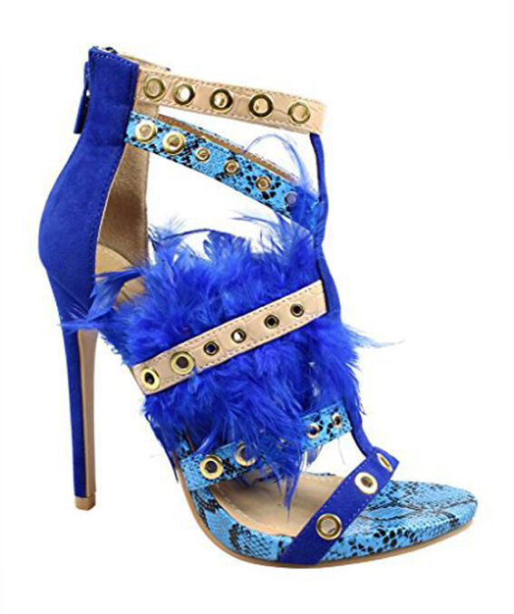 Black Black Black   bluee Multi Snake Skin Strappy Feather Open Toe Heel Sandals b4717a