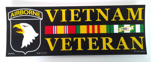 ** 101st AIRBORNE VIETNAM VETERAN ** Military Veteran Bumper Sticker BM0060 EE