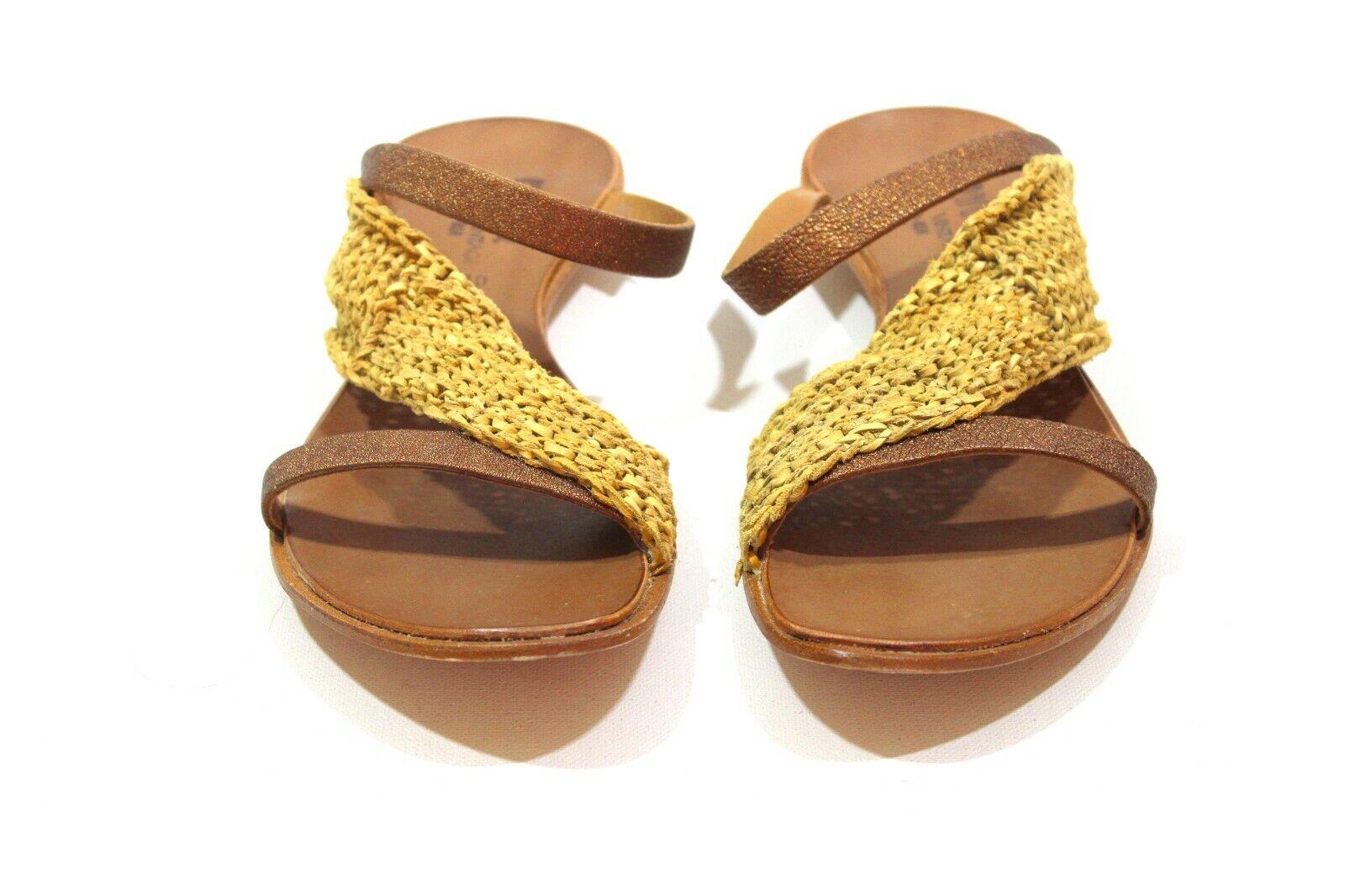 Cydwoq Siamese Slides SandalsMustard Leather Handmade USA