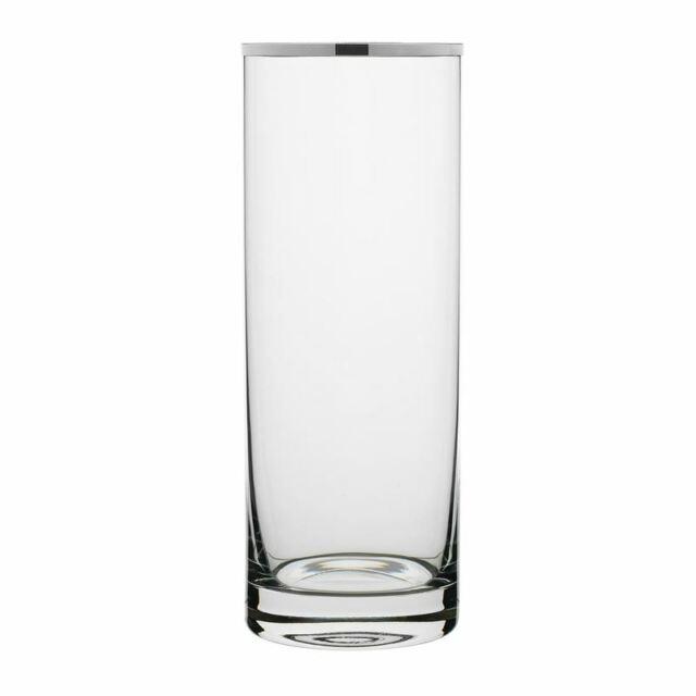 Rona - Selene Platinum Rim Cylinder Vase 25.5cm (Made in Europe)