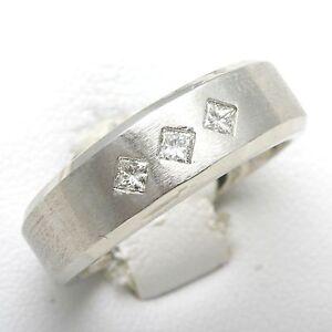 New-14k-white-gold-diamond-Mens-Ring-1-3-ct-brushed-Pricness-Square-cut-matte