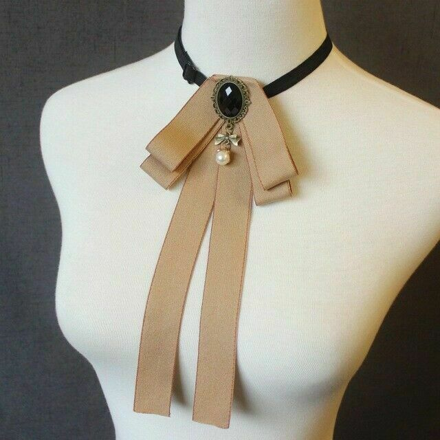 Cravat Groom Elastic Band Necktie Pearl Women Shirt Bowtie Decoration Rhinestone