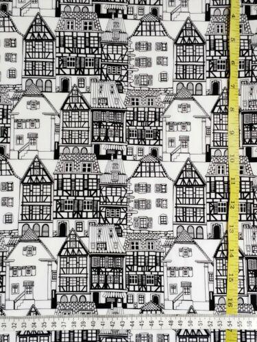 noir et blanc Coton Fat Quarter maisons ville