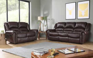Image Is Loading Calgary Brown Leather Recliner Reclining Sofa Sofas Couch