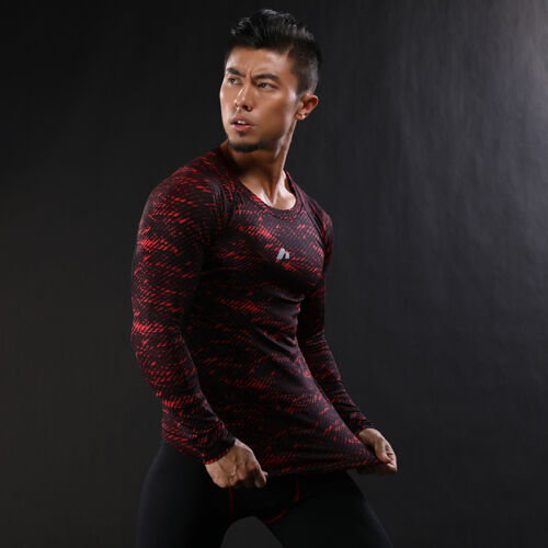 Men Bodybuilding Fitness Gym Workout Sports Tops Long Sleeve Compression T-Shirt