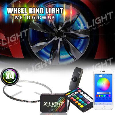 "4pcs 17/"" LED Wheel light RGB-W rim Light Bluetooth Remote Control w Brake Mode"