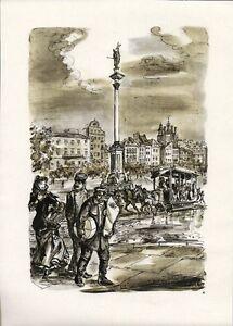 Antique-map-Warsaw-Castle-square