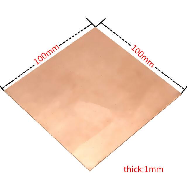 99.9% Pure Copper Cu Metal Sheet Plate 100x100x1mm For Handicraft Aerospace