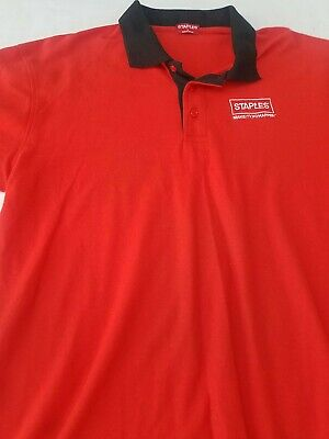 "Staples Employees Men/'s Short Sleeve /""Make More Happen/"" Polo Shirt Size XLarge"