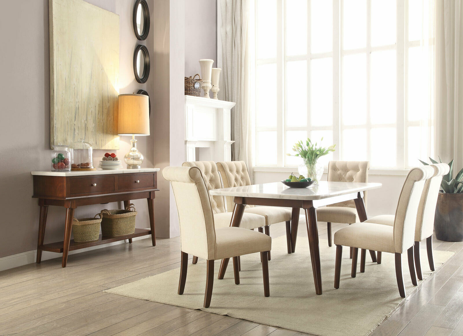 Modern Brown 7 Pieces Dining Room Set Rectangular White Marble Table Chairs Iacq For Sale Online