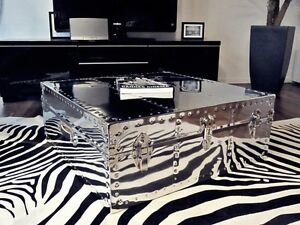 Coffee Table - Hand Made Square Polished Chrome Metal Made To Order