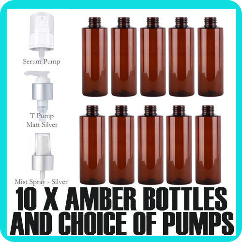 10x  Amber PET plastic Bottles 250ml with choice of lid Bulk Cosmetic Packaging