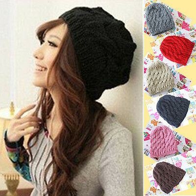 Newest Womens Ladies Girls Winter Knitted Crochet Beanie Hat Cap 10 Colours