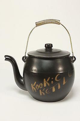 Kookie Kettle McCoy Vtg Cookie Jar Black Ceramic Tea Pot W/ Metal Handle VGC