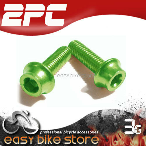 BIKE MTB ROAD 2pc Water Bottle Cage Anodizing M5 Bolts Screws GREEN NEW