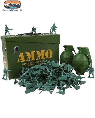 Bambini Esercito Giocattolo Soldato Play Set Ammo Tin Box Granata Esercito Uomini