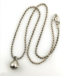 Vintage-925-Sterling-Silver-Bead-Chain-amp-Ball-Bead-Pendant-Necklace-16-034