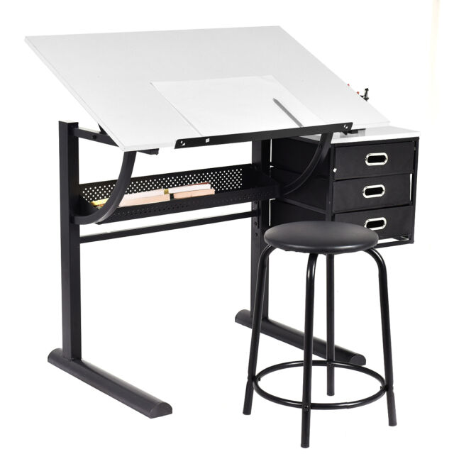 Drafting Table Art U0026 Craft Drawing Desk Art Hobby Folding Adjustable W/  Stool