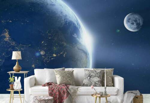 Planet Earth Moon Space Photo Wallpaper Wall Mural FW-1135