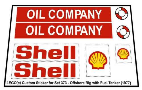1977 Replica Sticker for Lego®Legoland Set 373 Offshore Rig with Fuel Tanker