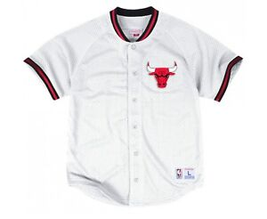 hot sale online ff049 bdb19 Details about New WHITE Chicago Bulls Mitchell & Ness NBA Men's Mesh Button  Down Jersey Shirt