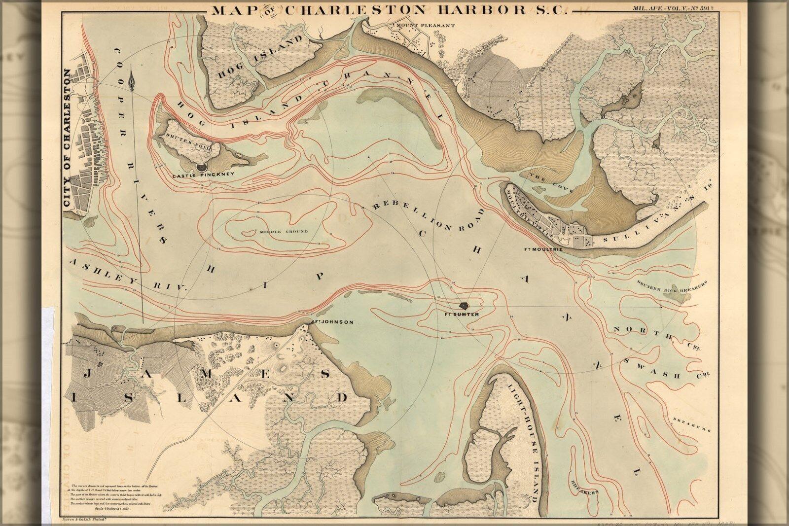 Affiche, Plusieurs Größes; Carte de Charleston Port, South Carolina