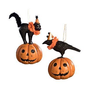 Set-2-Bethany-Lowe-Orange-Pumpkin-Jack-Black-Cat-Raven-Halloween-Ornaments-Decor