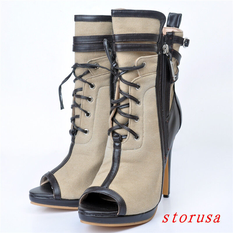 RETRO WOMEN STILETTO HEEL CANVAS HIGH HEELS PEEP TOE SANDALS SHOES BOOTS ZIP