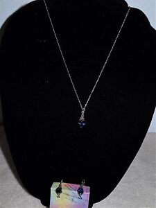 2a51ad44ffe58 Details about PURPLE FACETED STONE MARCASITE NECKLACE & EARRING SET 925  STERLING